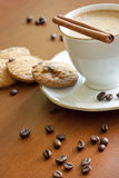 Cappuccino with chocolate and cookies Royalty Free Stock Photos