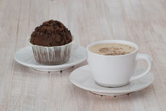 Cappuccino with chocolate muffins Stock Photography