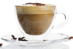 Cappuccino with chocolate powder on white backgrou Stock Image
