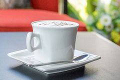 Cappuccino co ffee cup ,Hot coffee Royalty Free Stock Image