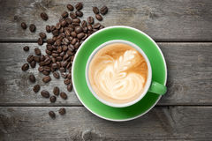 Cappuccino Cup Coffee Green royalty free stock photos