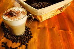 Cappuccino with coffee beans Royalty Free Stock Photos