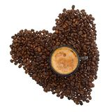 Cappuccino  and coffee beans on white Stock Image