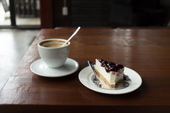 Cappuccino coffee and blueberry cake Stock Image