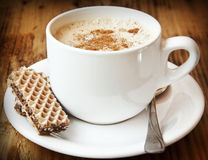 Cappuccino Coffee with Cinnamon Stock Photos