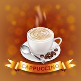 Cappuccino on coffee-colored background with gold ribbon. Photo realistic vector vector illustration