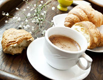 Cappuccino Coffee and Croissants,French Breakfast Royalty Free Stock Photography