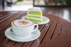 Cappuccino coffee cup ,Hot coffee in white mug Royalty Free Stock Image
