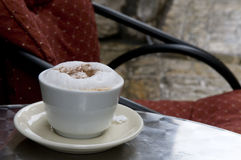 Cappuccino coffee cup outdoor Stock Photography