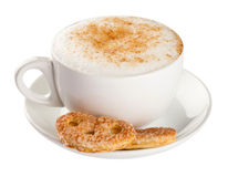 Cappuccino, coffee cup  on white Stock Photography