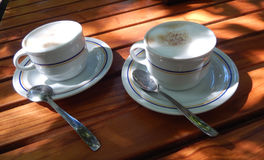 Cappuccino coffee cups Stock Photography