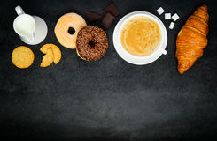 Cappuccino Coffee with Donut and Croissant on Copy Space Area Stock Photos