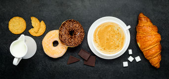 Cappuccino Coffee with Donut and Croissant Royalty Free Stock Photos