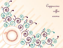 Cappuccino coffee on floral abstract background Royalty Free Stock Photo