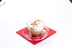Cappuccino coffee isolated on white Royalty Free Stock Photography