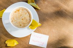 Cappuccino and the Inscription Good Morning. Stock Photography