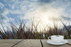 Cappuccino coffee for morning time as background Royalty Free Stock Photography