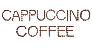 Cappuccino Coffee Sign. In word and letter form over white background Royalty Free Stock Photo