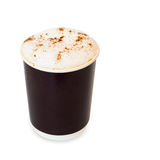 Cappuccino coffee in take away paper glass on white Stock Images