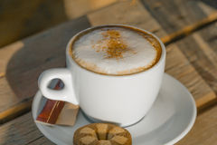 Cappuccino coffee in a white cup. with cinnamone and biscuits Royalty Free Stock Photography