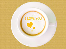 Cappuccino coffee in white cup Royalty Free Stock Images
