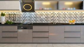 Cappuccino color brown kitchen design idea. Kitchen design black white ceramic with cappuccino furniture design 3D rendering Stock Photos
