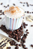 Cappuccino in a colourful cup Royalty Free Stock Photography