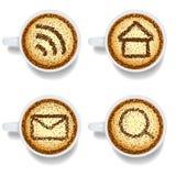 Cappuccino com ícones da Web Ilustração Stock