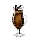 Cappuccino com vara de canela ilustração stock