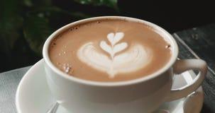 Cappuccino con un modello di rosetta di arte del latte nel crema archivi video