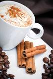 Cappuccino and cookies. Frothy cappuccino coffee in plate with cinnamon sticks and coffee beans Stock Photo