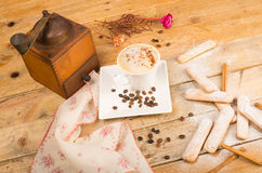Cappuccino and cookies Stock Photography