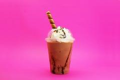 Cappuccino with cream. Cappuccino con crema congelado , Servido con Pirulin Stock Photos