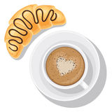 Cappuccino and croissant. Breakfast food, coffee mug top view. Cappuccino and croissant with chocolate top. Vector illustration isolated on white background for Stock Photography