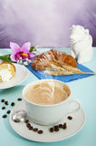 Cappuccino and croissants Stock Photography