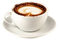 Cappuccino cup. With clipping path for easy background removing if needed Stock Photo