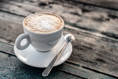Cappuccino cup close-up Stock Images