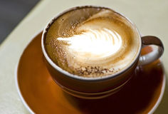 Cappuccino cup coffee close up Royalty Free Stock Photos