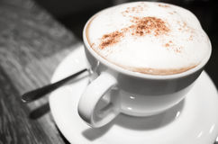 Cappuccino, cup of coffee with milk and cinnamon Royalty Free Stock Photos