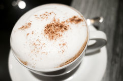 Cappuccino, cup of coffee with milk foam Stock Photo