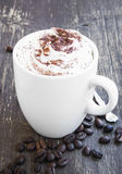 Cappuccino Cup with Creamy Froth and Cocoa Powder Stock Photos