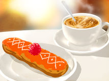 Cappuccino cup and eclairs Royalty Free Stock Images