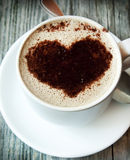Cappuccino Cup with Heart Shape Royalty Free Stock Images