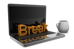 Cappuccino cup with laptop Royalty Free Stock Photo