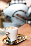 Cappuccino cup. A cup of cappuccino on a marble surface Royalty Free Stock Photography