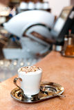 Cappuccino cup. A cup of cappuccino on a marble surface Stock Photos