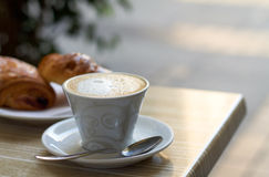 Cappuccino cup with milk cream Royalty Free Stock Photography