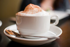 Cappuccino cup with milk foam and cinnamon. A cappuccino cup with milk foam and cinnamon Royalty Free Stock Images