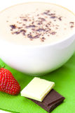 Cappuccino cup strawberries and chocolate chips Royalty Free Stock Photo
