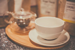 Cappuccino cup on a tray Royalty Free Stock Photos